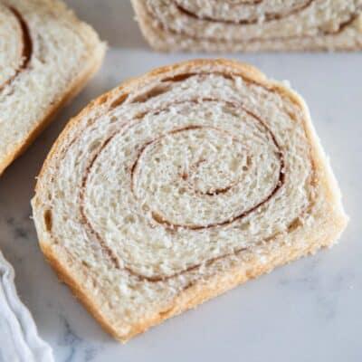 cinnamon swirl bread slice on table