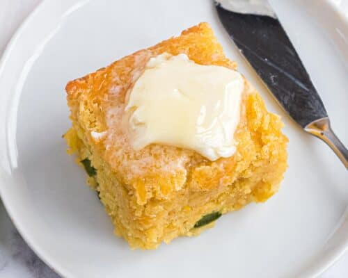 slice of cornbread with butter