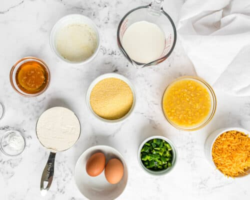 cornbread ingredients on counter