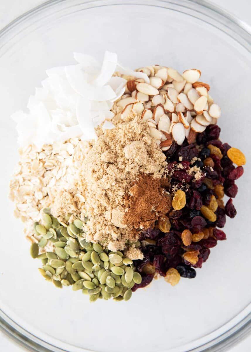 muesli ingredients in bowl