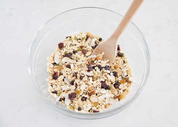 muesli ingredients mixed in bowl