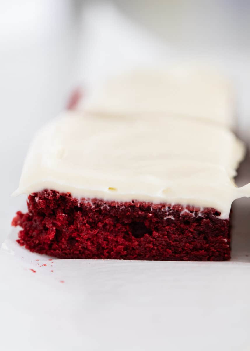red velvet brownie close up