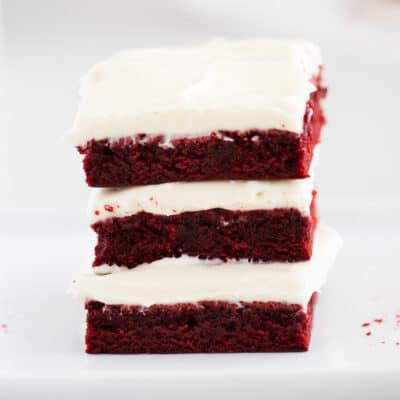 red velvet brownies stacked