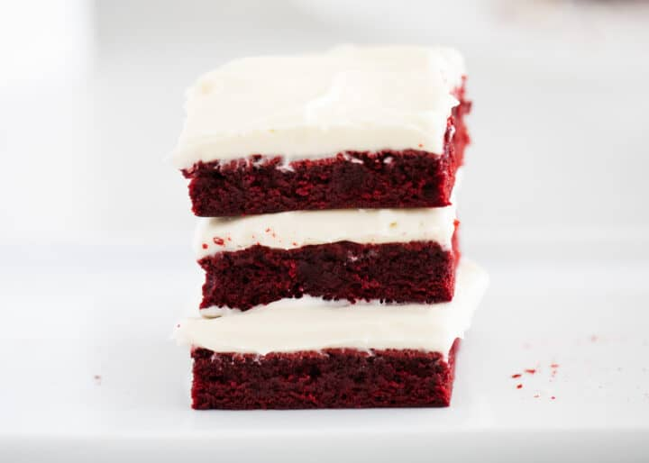red velvet brownies stacked