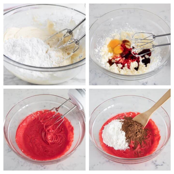 red velvet brownie ingredients collage
