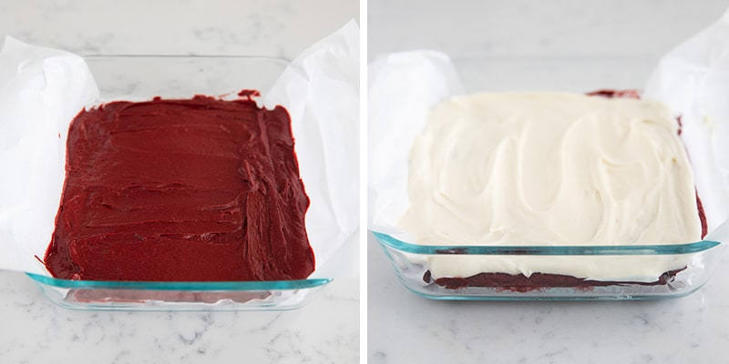 spreading cream cheese frosting over red velvet brownies