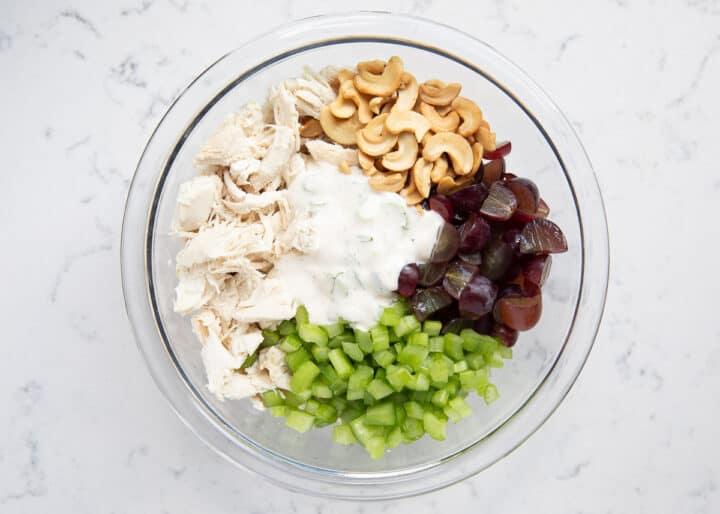 chicken salad ingredients in bowl
