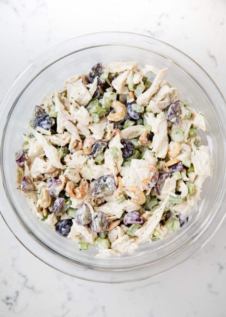 chicken salad with grapes in bowl