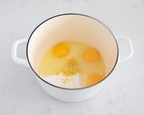 lemon curd ingredients in pot