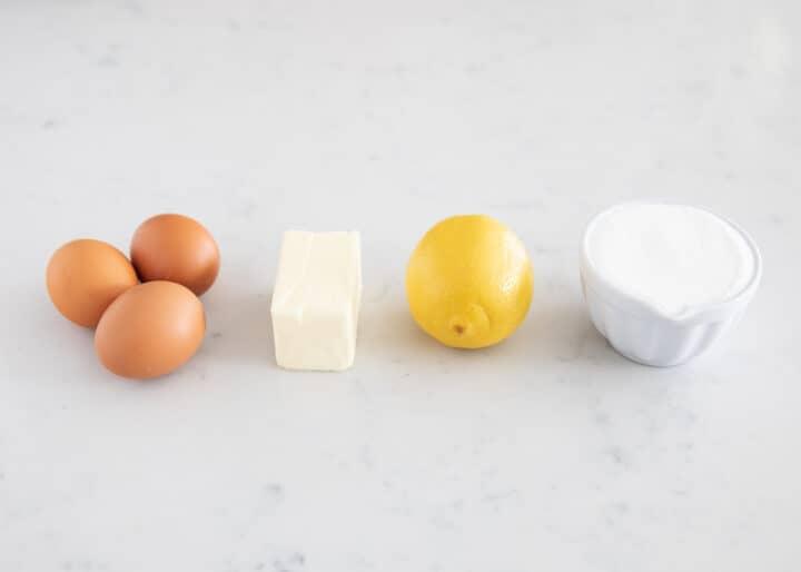 lemon curd ingredients on table