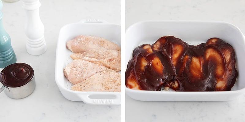 baked bbq chicken ingredients collage