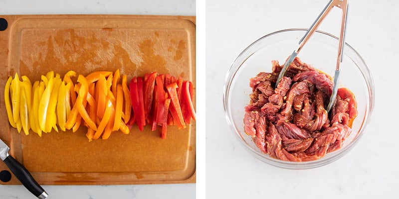 sliced bell peppers and marinated steak strips