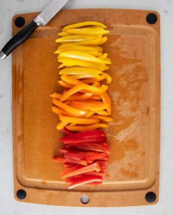 cut bell peppers on cutting board