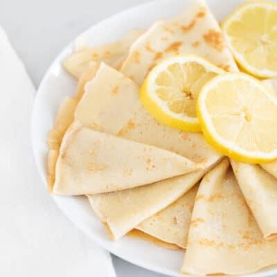 lemon crepes on white plate