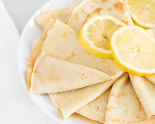 lemon crepes on white plate