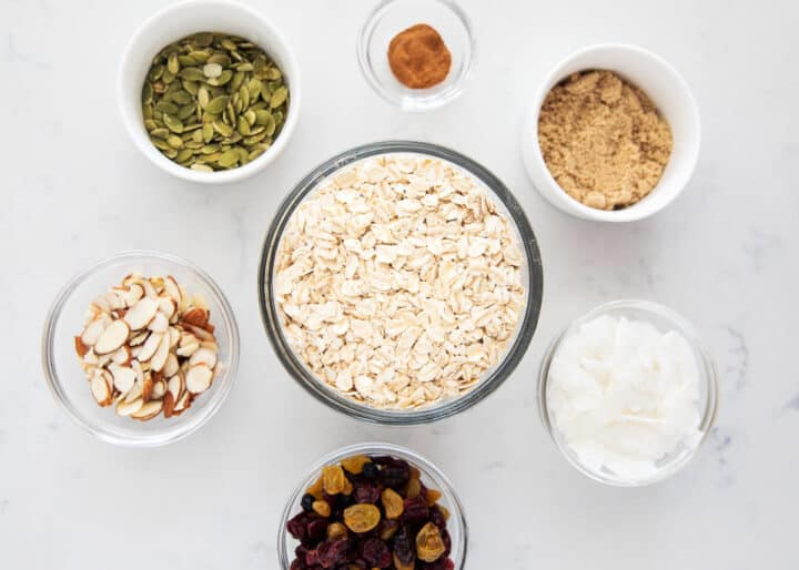 muesli ingredients on table