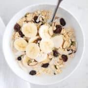muesli in white bowl