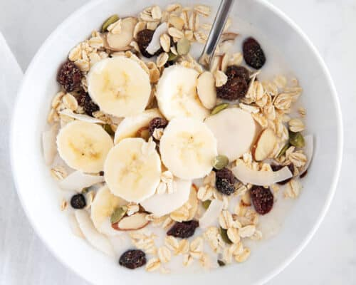 muesli in white bowl