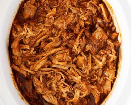 bbq pulled pork in white slow cooker