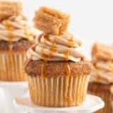 churro cupcakes on mini platters