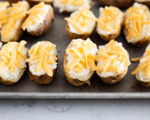 twice baked potatoes on pan