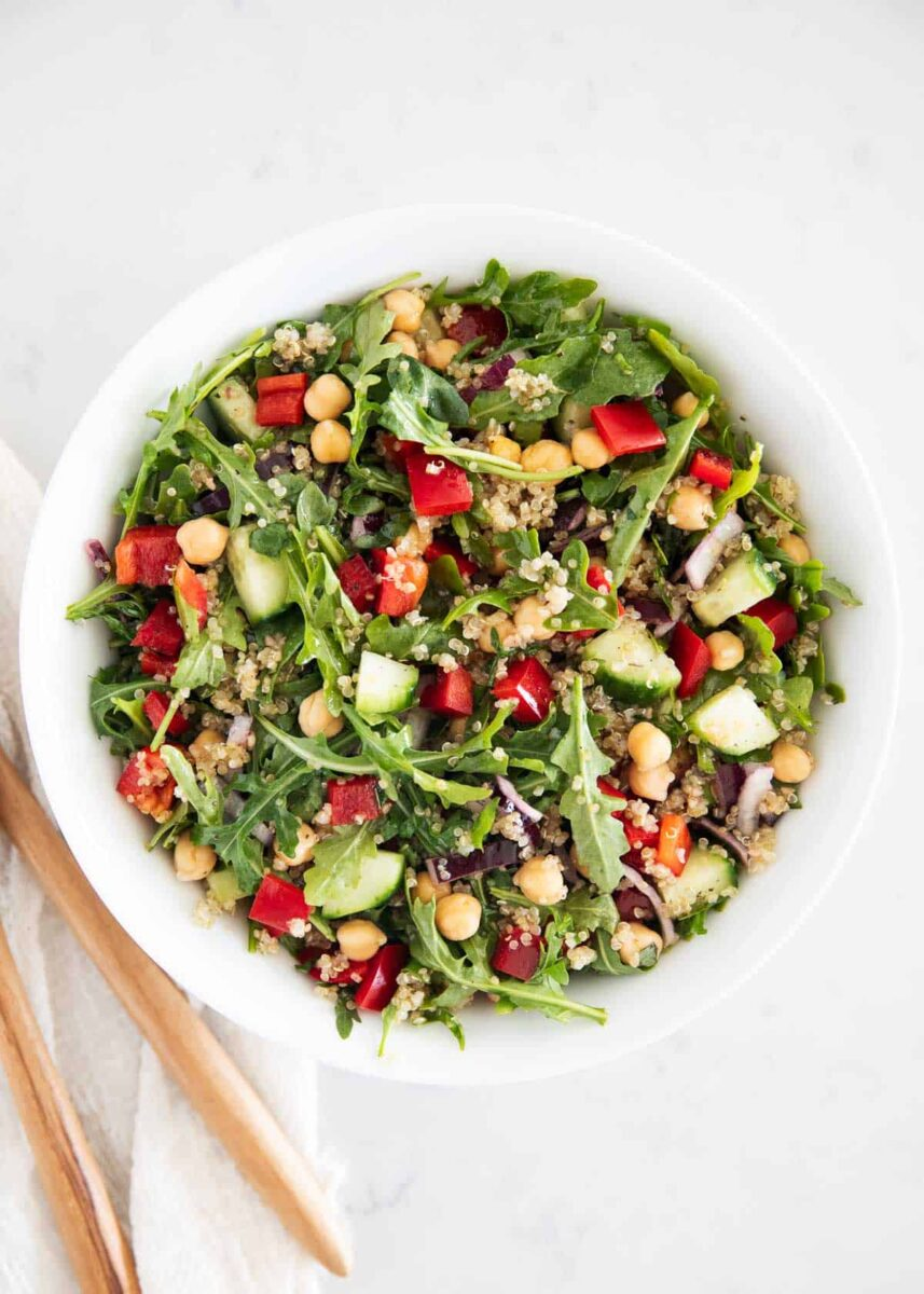 quinoa mediterranean salad ingredients in bowl