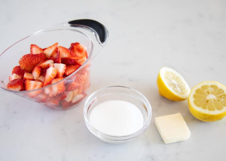 strawberry sauce ingredients on counter