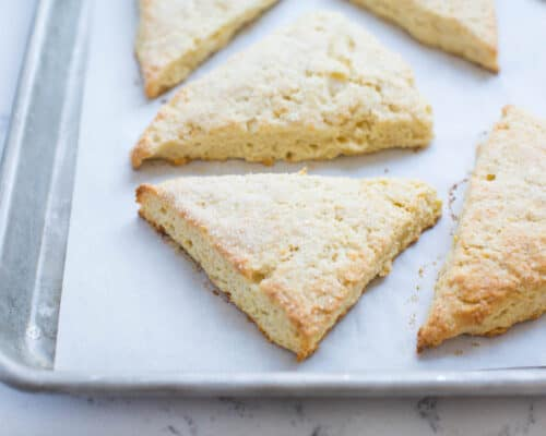 baked scones on cookie sheet