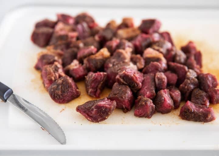 steak bites on cutting board