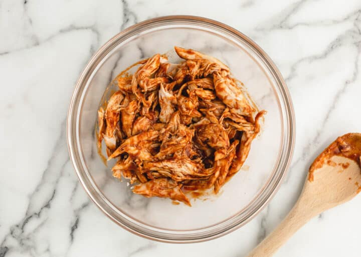 bbq chicken in clear bowl