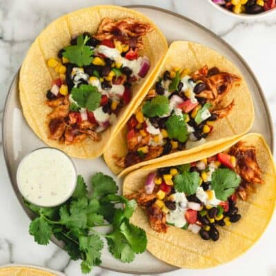bbq chicken tacos on plate