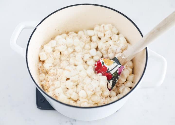 brown butter rice krispie treats ingredients in pot