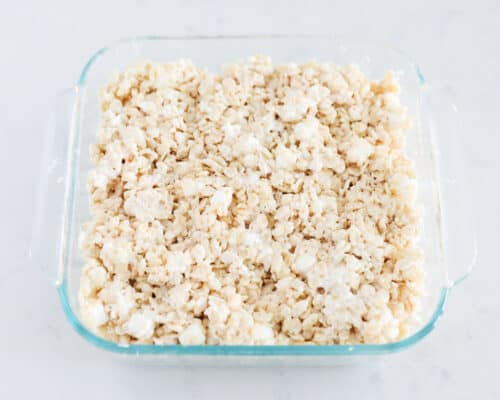 brown butter rice krispie treats in pan