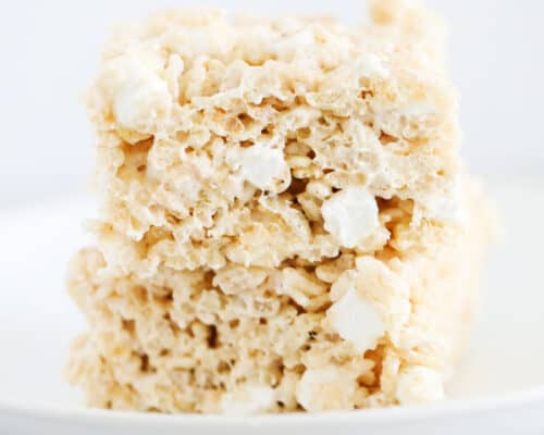 brown butter rice krispie treats on white plate