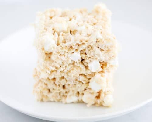brown butter rice krispie treats on plate