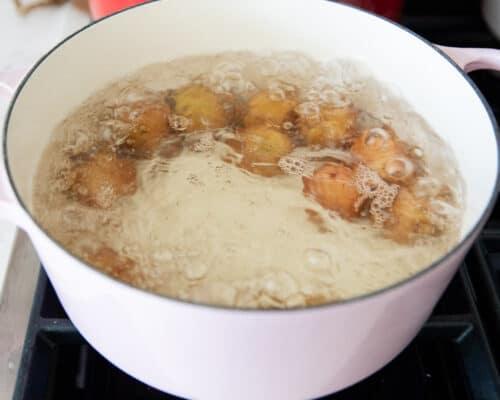boiling potatoes in pan