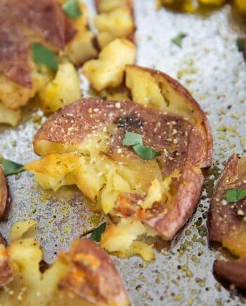 smashed potatoes on pan