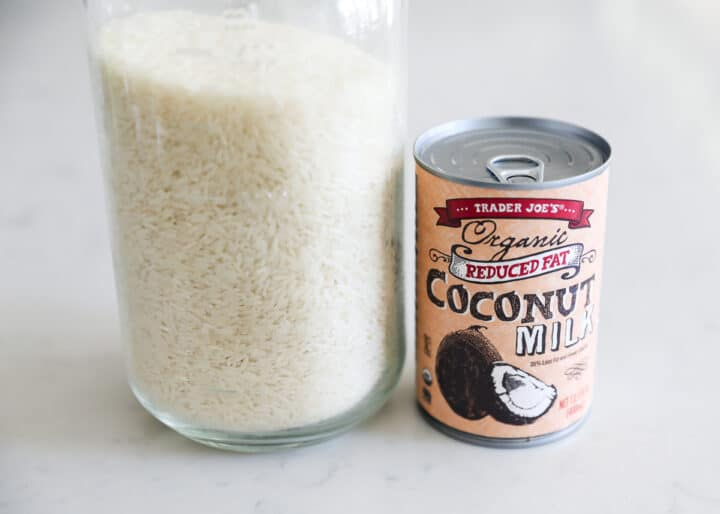 rice and coconut milk on table
