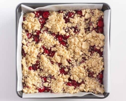 cherry pie bars in pan