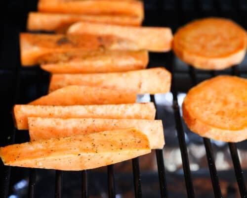 cut sweet potatoes on grill