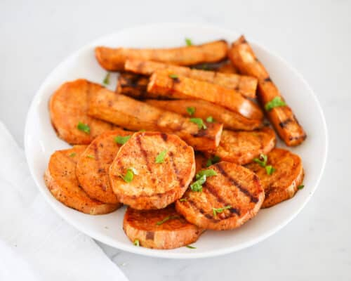 grilled sweet potatoes on plate