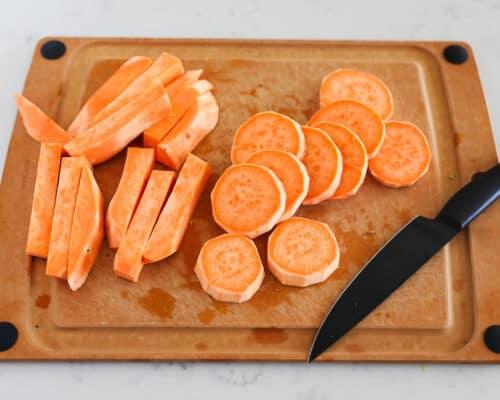 cut sweet potato on cutting board