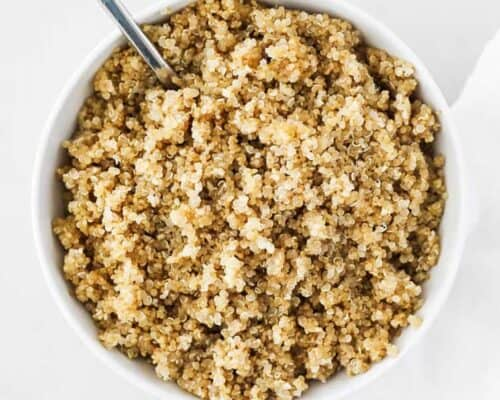 cooked quinoa in white bowl
