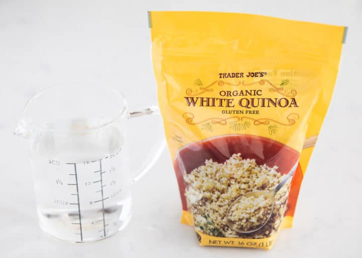 quinoa and water on table