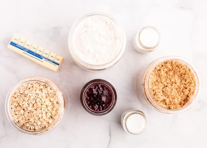 raspberry crumb bars ingredients on table