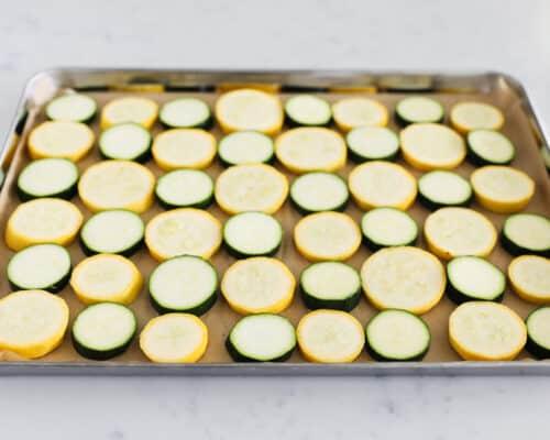 zucchini and squash on pan