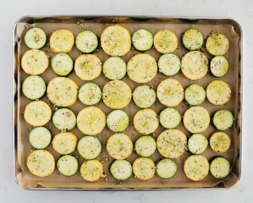 roasted zucchini and squash on pan