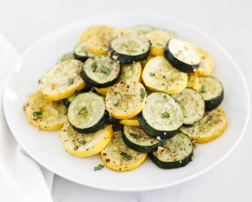 roasted zucchini and squash on plate