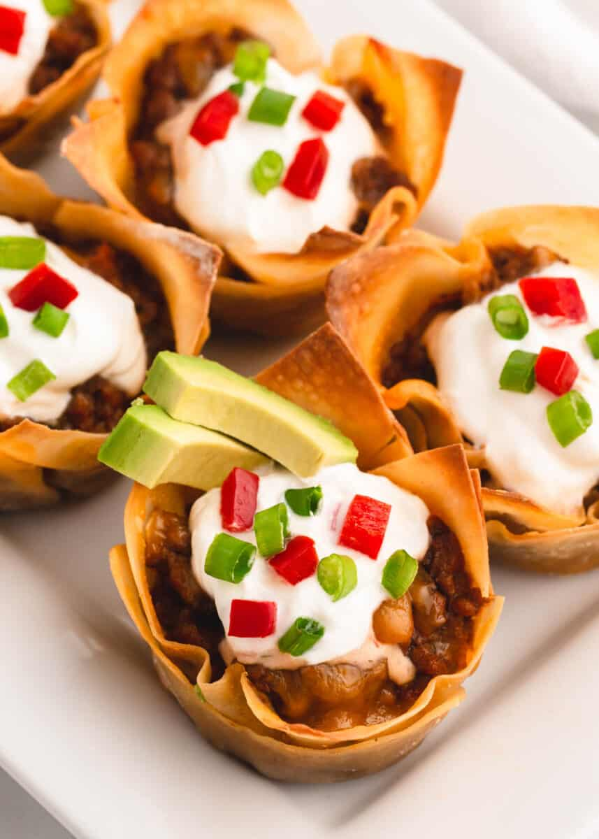 taco cups on white plate