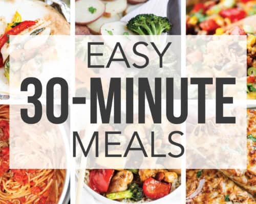 collage of 30 minute meal recipes